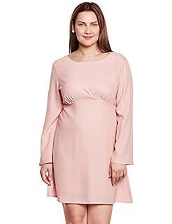 f51eda6cf9f oxolloxo Plus Size Women Round Neck Grey Shift Dress 3 4th Sleeves ...