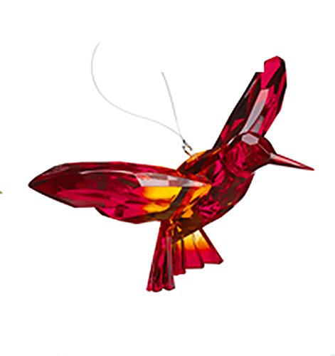 Ganz Crystal Expressions Ornament - Hanging Two-Toned Hummingbirds (Red/Orange)