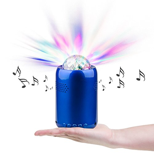 Price comparison product image RicoRich Portable Bluetooth Speakers with Colored LED Light Show Built-in Microphone handsfree Calling, Mini Disco Party Speaker for Family Party Occasions Children Gift Blue