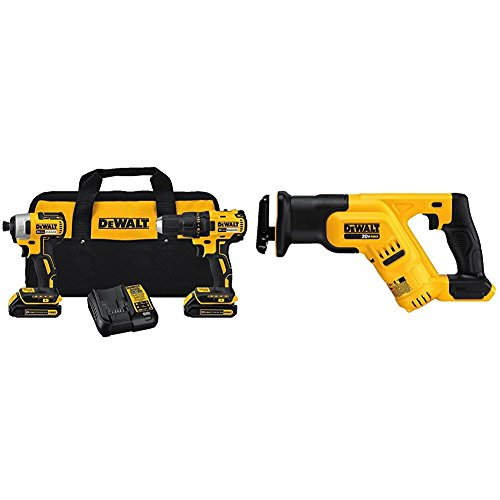DEWALT DCK277C2 20V MAX Compact Brushless Drill and Impact Combo Kit & Reciprocating Saw (tool only)