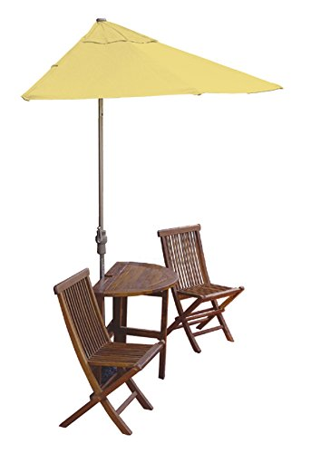 (Blue Star Group Terrace Mates Caleo Standard Table Set w/ 9'-Wide OFF-THE-WALL BRELLA - Yellow Olefin Canopy)