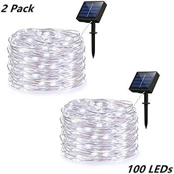 Amazon.com: Luces de cuerda solares, 2 unidades de 100 luces ...