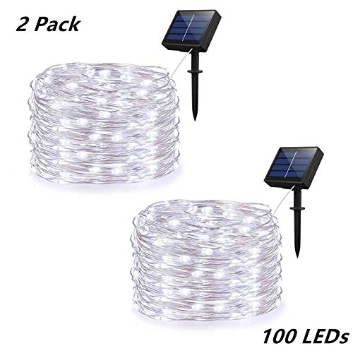 Syka Solar String Lights, 2 Pack Outdoor String Lights with 8 Modes 100 LEDs 33ft Silver Copper Wire, Waterproof Solar Powered Fairy Lights for Garden Gate Yard Patio Dancing Party Trees (Cold White)
