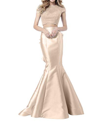 Bodenlang Ballkleider Abendkleider Promkleider Meerjungfrau mia La Pailletten Langes Brau Festlichkleider Beige Partykleider U6CqT