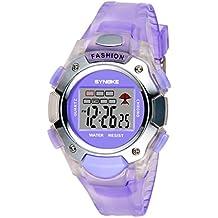 Children 30M Waterproof Watches - Anxinke Multi-Function LED Double Digital Movement Wristwatch (Purple)