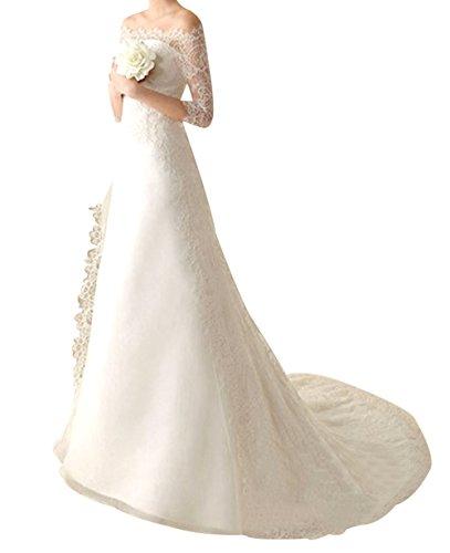 Annie's Bridal Women's Floral Lace Long Sleeve Off Shoulder A-line Evening Wedding Dress 2017 Chaple Wedding Bridal Gown