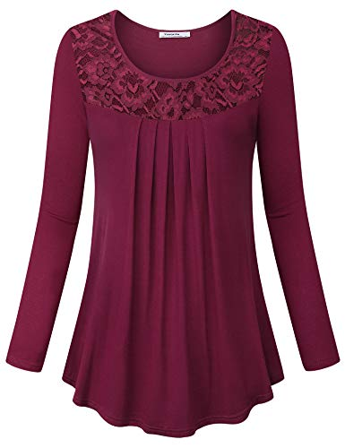 Youtalia Casual Tunic Tops with Laces, Ladies Elegant Tops Vintage Curved Hem Pleated Scoop Neck Long Sleeve Comfy Loose Line Tops for Women,Wine Medium