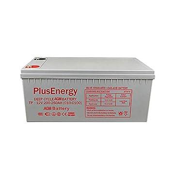 PlusEnergy Solar Battery 12 V Deep Cycle AGM 150 Ah 250 Ah Gel 150 Ah 250 Ah Solar Photovoltaic with Terminals