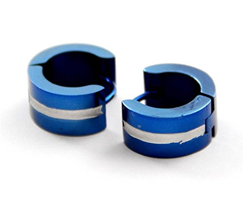 Boucles D Oreilles Homme - Jolies Boucles d Oreilles Homme Acier Bleu 747