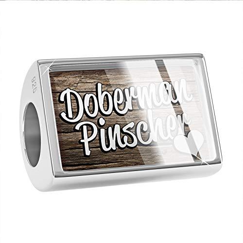 NEONBLOND Charm Doberman Pinscher, Dog Breed Germany 925 Sterling Silver Bead (Doberman Pinscher Dog Charm)