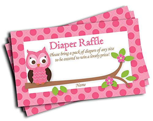 Pink Owl Printed Diaper Raffle Tickets Baby Shower Games (50-cards) -