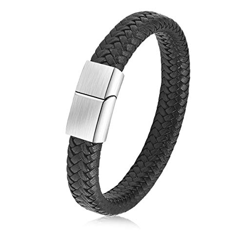JIAYIQI Punk Men Braided Leather Bracelet Stainless Steel Magnetic Clasp Bangles 8.7 inch (Stainless Leather Steel Mens Bracelets And)