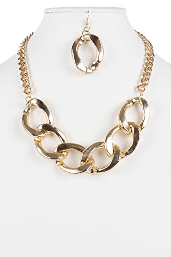 Judys Fashion Twist Collar Chunky Chain Linked Necklace Set for Women