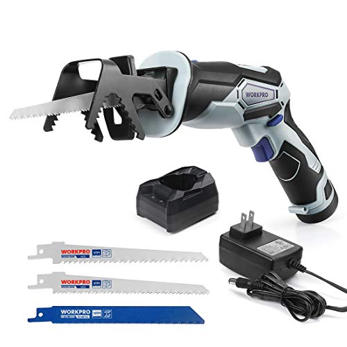 WORKPRO 12V Cordless Reciprocating Saw with Clamping Jaw, 2.0Ah Li-Ion Battery with 1 Hour Fast Charger, Variable Speed and Tool-Free Blade Change, 3 Saw Blades for Wood & Metal Cutting