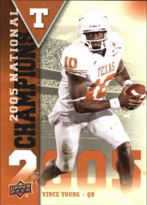 (Vince Young football card (Texas Longhorns) 2011 Upper Deck #NC-VY 2005 National Champions)