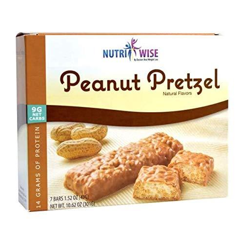 NutriWise - Peanut Pretzel Crispy Diet Bar   Low Sugar, Low Cal, Low Carb, High Protein, Gluten Free (7/Box)