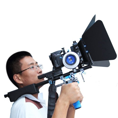 SunSmart Pro DSLR camera video Rig Shoulder Mount Kit including DSLR Rig shoulder mount support, Follow Focus F3 and Matte Box M3 for All DSLR Video Cameras and DV Camcorders by SunSmart