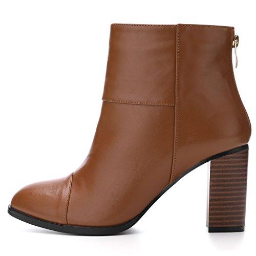 Zipper Boots Toe Block K Women's Allegra Heel Round Brown Ankle 8wYg4qUc