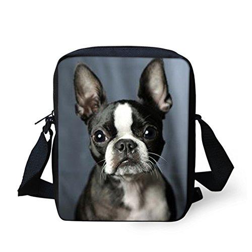 (Sannovo Boston Terrier Breed Standard School Bag Girl Boy Animal Messenger Satchel Mini Coin Purse)