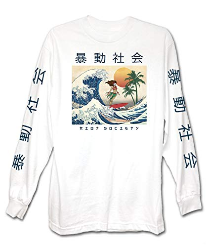 (Riot Society Men's Wave Rider Long Sleeve Graphic Long Sleeve T-Shirt - White, XX-Large )