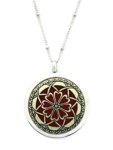 Unique 2 Flower 316L Stainless Steel Two Tone Gold / Silver Diffuser Necklace- 20
