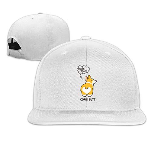 - Unisex Casual Baseball Cap GUSS What Corgi Butt Printing Breathable Cap Golf Hats-Adjustable Size White