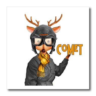 3dRose Doreen Erhardt Christmas Collection - Comet The Aviator Reindeer in a Flight Suit Funny Christmas - 6x6 Iron on Heat Transfer for White Material (ht_290906_2)