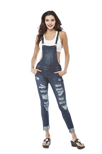 Dark Blue Destroyed Overalls (Medium, Darkblue)