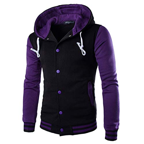 Winter Jacket Mens Patchwork Multi Color Hooded Overcoat Baseball Jackets Striped Casual Coat,Purple,M