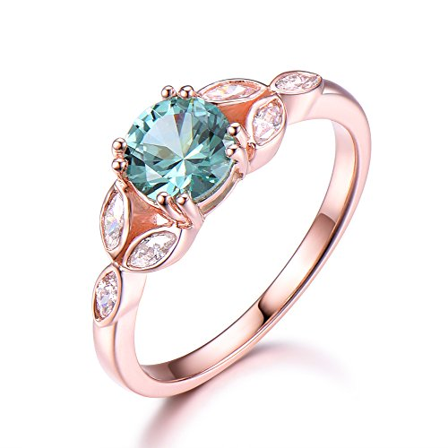 (Lab Created Green Sapphire Round Cut Engagement Ring Marquise CZ Diamond 14k Rose Gold Wedding Jewelry)