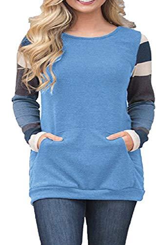 Tunique Bleu Pullover Femme Chemise Blouse Tops Patchwork Rond Manches shirt Haut Classique Col À Rayure Hiver Automne Pull Sweat Sport T Vintage A Longues Elegant g4zSxgqw