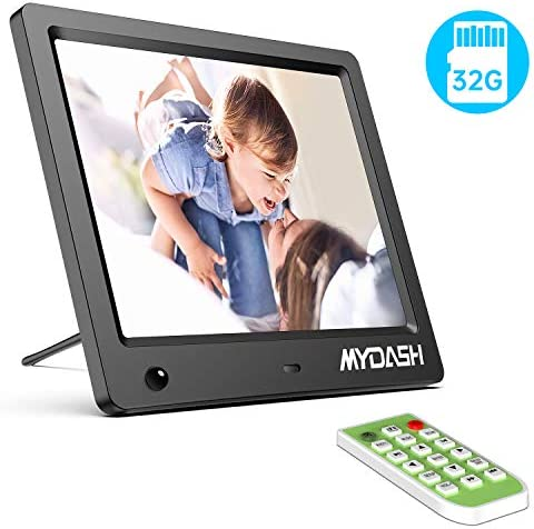 MYDASH Digital Photo Frame 8 Inch Digital Picture Frame with IPS Screen, Built in 32GB Internal Storage Support 1080P Video Motion Sensor Auto-Rotate Background Music