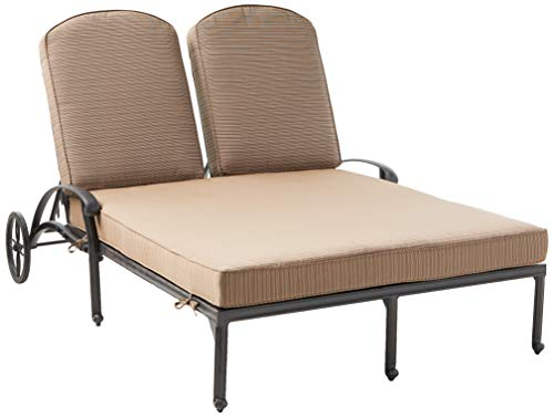 K B PATIO LD777-99 Elizabeth Double Chaise Lounge with Cushion, Antique Bronze
