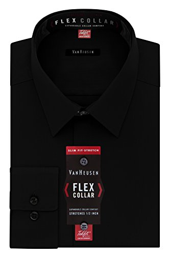 Van Heusen Men's Dress Shirt Slim Fit Flex Collar Stretch Solid, Black, 16