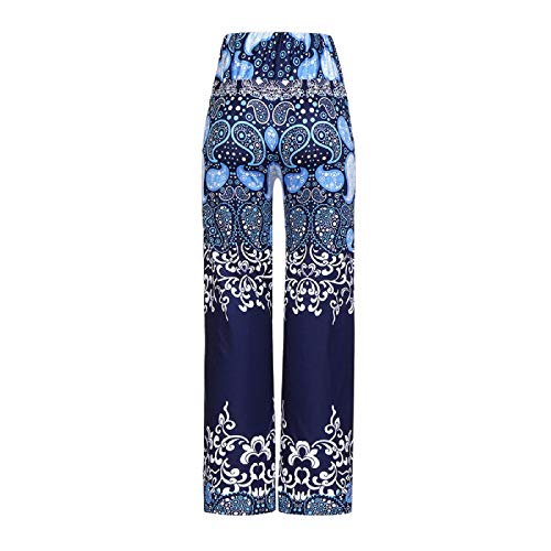Barlingrock Women's Daily Casual Loose Print Stretchy Wide Leg Palazzo Lounge Long Pants,Yoga Casual Loose Wide Trousers,Sports Pants, Everyday Wear at Home (Dockers Womens New)