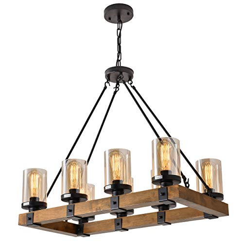 - 8-Light Farmhouse Wood Kitchen Island, Wood Chandeliers, Candle Pendant Light, Glass Lodge and Tavern Pendant Lighting 480W Max (Bulb Not Included)