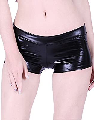 HDE Women's Shiny Metallic Booty Shorts Liquid Wet Look Hot Pants Dance Bottoms
