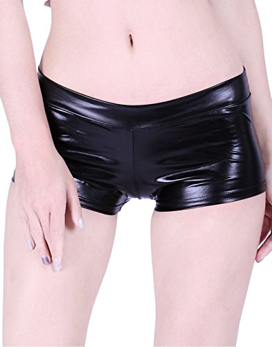 HDE Women's Shiny Metallic Booty Shorts Liquid Wet Look Hot Pants Dance Bottoms,Black,Small - Recital Costumes Hip Hop
