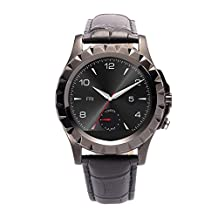 Efanr T2 Bluetooth Smart Wrist Watch Smartwatch WristWatch Phone Mate Pedometer Fitness Activity Tracker with 0.3MP Camera IP67 Waterproof Wristband for iPhone Android Smartphones (Leather Black)