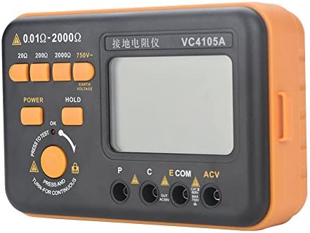 Voltage Measurement Digital LCD Display High Voltage Indication Ground Resistance Meter, Earth Ground Resistance Meter Tester for High Accuracy AC/DC Current