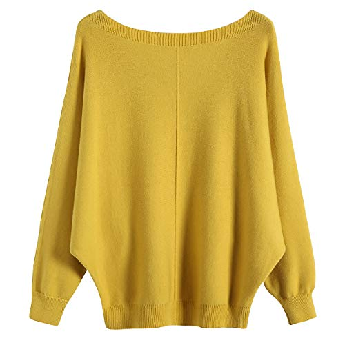 - GABERLY Boat Neck Batwing Sleeves Dolman Knitted Sweaters and Pullovers Tops for Women (Yellow-2, One Size)