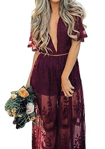Eleter Women's Deep V-Neck Lace Romper Short Sleeve Long Dress (L,Wine Red) ()