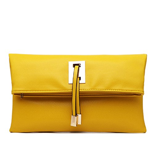 Abshoo Women Clutch Purse Evening Faux Leather Clutch Bags (Yellow) ()
