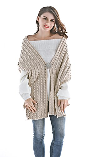 Aukmla Women Knitted Scarf Winter Shawls Wraps Long Pashminas Poncho with Brooch (Beige) by Aukmla