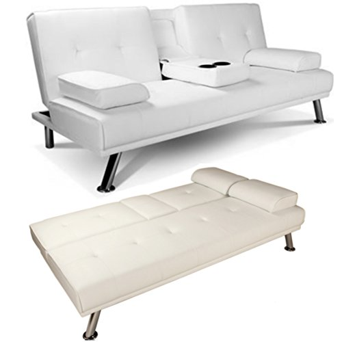 Phenomenal White Faux Leather Sofa Bed Double Click Clack Settee 2 Seater 3 Seater Modern Living Room Couch Home Cinema Sofa 3 Position Drink Cup Holders Two Ibusinesslaw Wood Chair Design Ideas Ibusinesslaworg