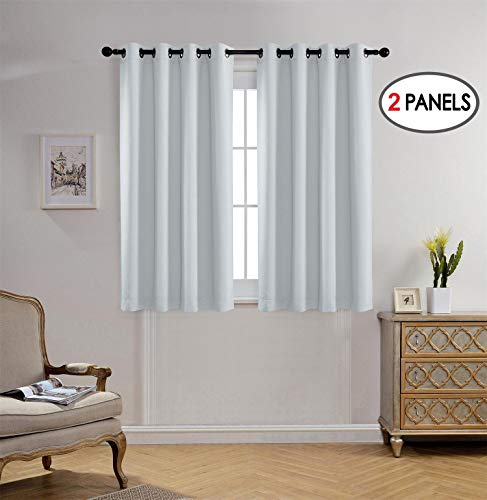 (Miuco Blackout Curtains Room Darkening Curtains Textured Grommet Window Curtains Bedroom 2 Panels 52x63 Inch Long Greyish White)