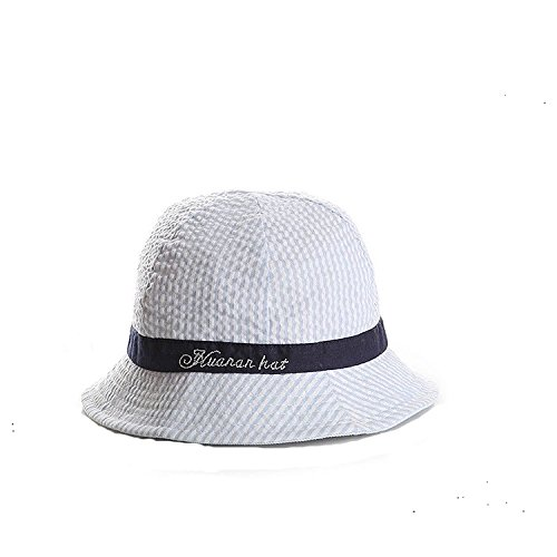 ons Solid 100% Cotton Printed Stripe Bucket Sun Protection Hat for Baby Girls Boys - Navy (Grand Bucket)