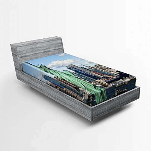 Ambesonne New York Fitted Sheet, Statue of Liberty in NYC Harbor Urban City Print Famous Cultural Landmark Picture, Soft Decorative Fabric Bedding All-Round Elastic Pocket, Twin Size, Mint Blue (Print Photo Bedding)