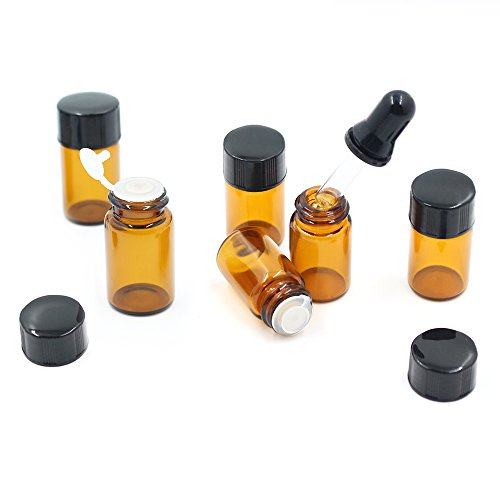 Fomei 100 Packs Oil Bottles for Essential Oils 2 ml (5/8 Dram) Amber Glass Vials Bottles, with Orifice Reducers and Black Caps, With 2 Free Glass Transfer Eye droppers by Fomei (Image #1)