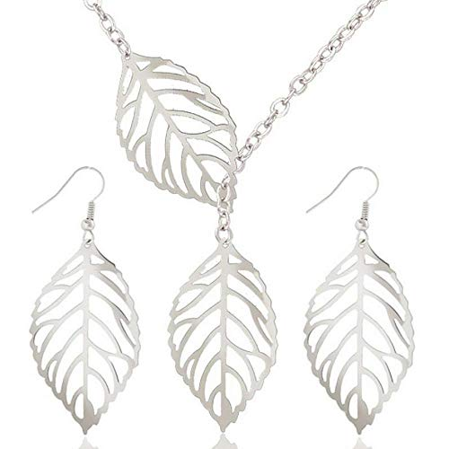 (Soul Statement Leaf Earring Necklace Set (Silver))